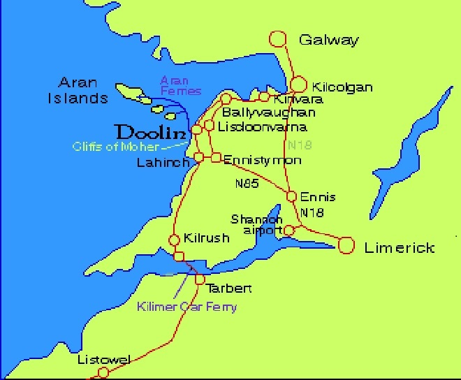 Map Of Ireland Showing The Aran Islands